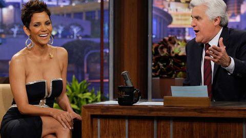 Watch: Halle Berry dodges flirty Jay Leno in daring dress
