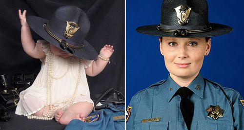 Infant daughter wears slain mother's State Trooper hat to show the horrors of drink driving