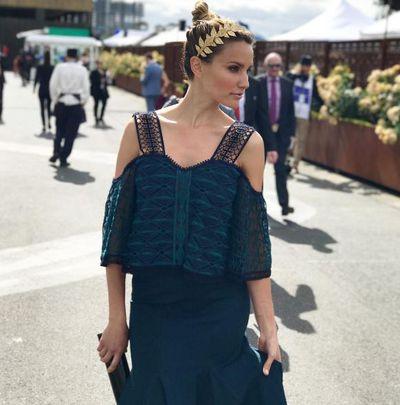 Rachael Finch in Jonathan Simkhai dress and Viktoria Novak headpiece