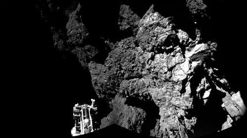 The Philae probe can be seen on the comet 67P/Churyumov-Gerasimenko. (European Space Agency/AAP)