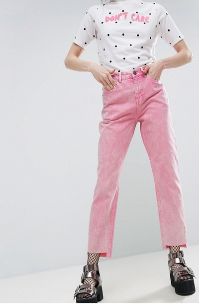 "<a href=""http://www.asos.com/au/asos/asos-original-mom-jeans-in-acid-pastel-pink-with-stepped-hems/prd/7886370"" target=""_blank"">ASOS ORIGINAL MOM Jeans in Acid Pastel Pink with Stepped Hems, $69.95.</a>"