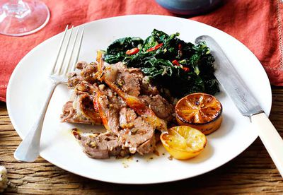 Slow-roasted shoulder of lamb with garlic silverbeet