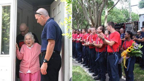 Fire department surprises firefighter's widow on her 100th birthday