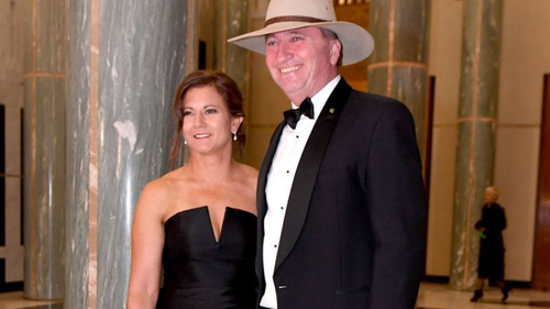 """Barnaby Joyce with estranged wife Natalie. Mrs Joyce said she and her daughters """"feel deceived and hurt"""" by her husband's affair with his 32-year-old staffer. (9NEWS)"""