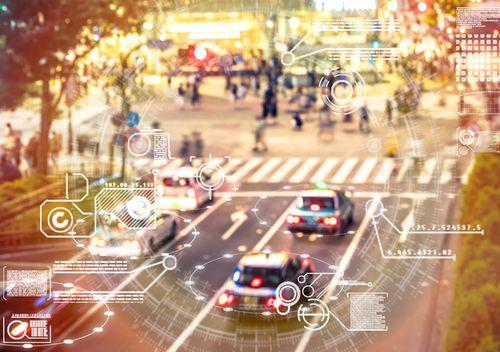 An Artificial Intelligence program scans a city street in Tokyo, Japan.