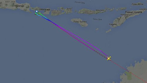 The aircraft was nearly over mainland Australia the second time it was diverted. (Flightradar24)