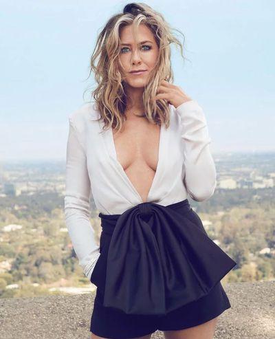 <p>Jennifer Aniston forUS <em>InStyle,</em> September 2018</p> <p>The actress wears a Givenchy top, Van Cleef & Arpels bracelet and Bulgari bracelet.</p>