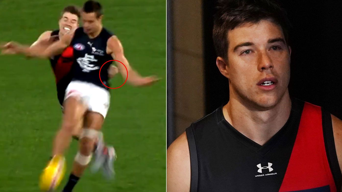 Essendon star Zach Merrett in hot water after late hit leaves Jack Silvagni with rib injury