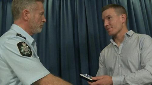 Mr Deeming was reunited with his allegedly stolen medals today. (9NEWS)