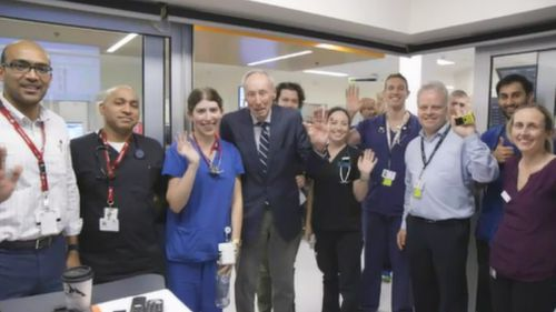 """They're 10/10,"" Mr Fry said of the staff at Alfred Hospital. (9NEWS)"