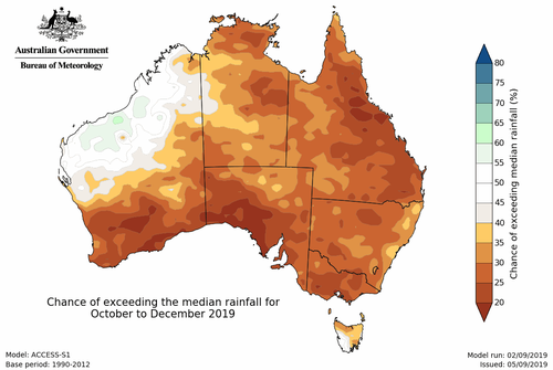 Rainfall is likely to be below average across most of the country for the remainder of 2019