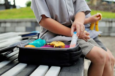 Stock photo: A child carries an epi-pen in his lunch.