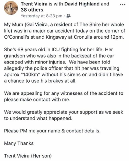 Gai Vieira: Cronulla grandmother police crash investigation