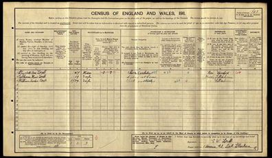 Ancestry, census entry, Catherine Maud Lovell aged 19 was 'hiding at home'