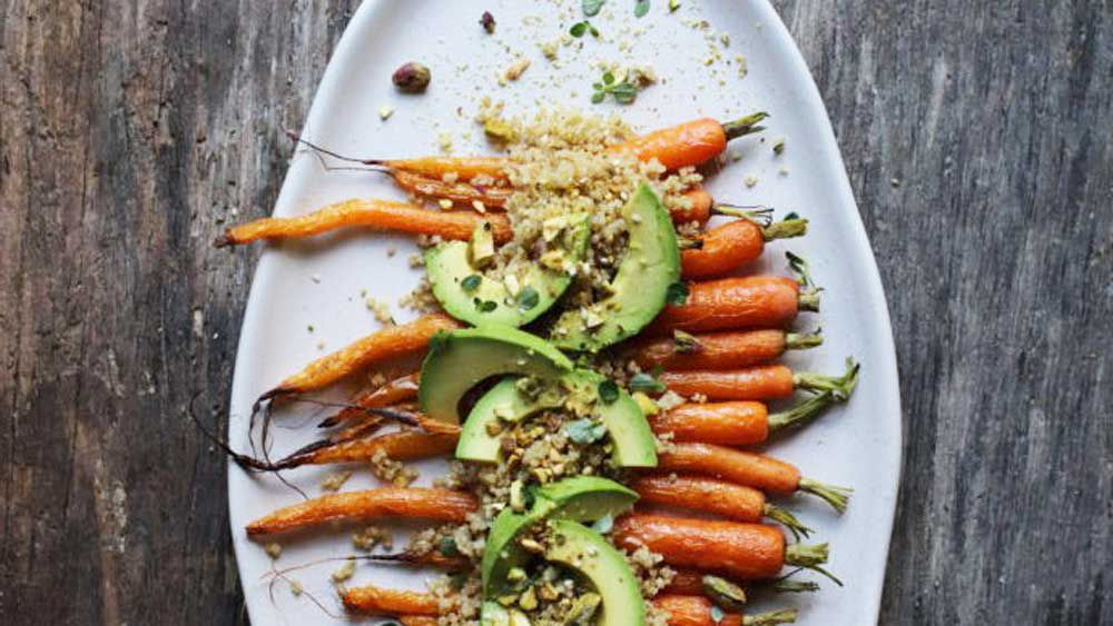 Roast carrot and fermented black garlic dukkah sprouted quinoa recipe