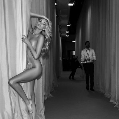 """Newbie Elsa Hosk is already making waves. She captioned this: """"UH-OH@nomadrjis already getting me in trouble backstage at the#vsfashionshow!!!"""""""