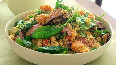 """Recipe:<a href=""""http://kitchen.nine.com.au/2016/05/17/14/56/spiced-lamb-couscous-and-spinach-salad"""" target=""""_top"""" draggable=""""false"""">Spiced lamb, couscous and spinach salad</a>"""