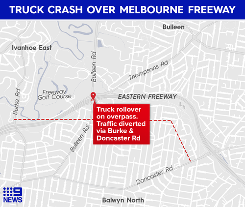 Truck rollover on Bulleen Road