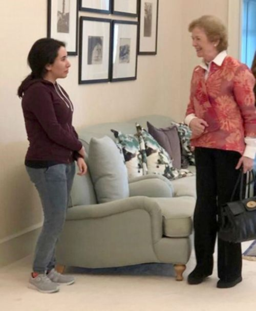 A photo released by the UAE shows Sheikha Latifa bint Mohammed Al Maktoum, a daughter of Dubai's ruler Sheikh Mohammed bin Rashid Al Maktoum, meeting Mary Robinson, a former United Nations High Commissioner for Human Rights and former president of Ireland, in Dubai, United Arab Emirates.