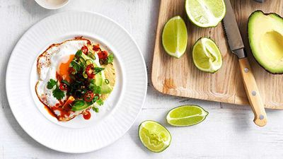 """Recipe:<a href=""""http://kitchen.nine.com.au/2016/05/16/12/16/fried-egg-avocado-and-chilli-tacos"""" target=""""_top"""" draggable=""""false"""">Fried egg, avocado and chilli tacos</a>"""