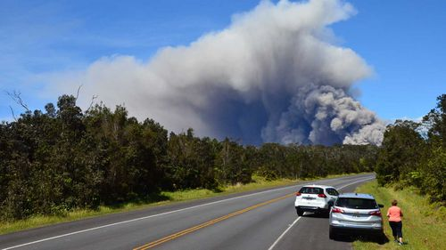 An ash plume rises from the Kilauea volcano at the Halemaumau Crater on Hawaii's Big Island. (AAP)
