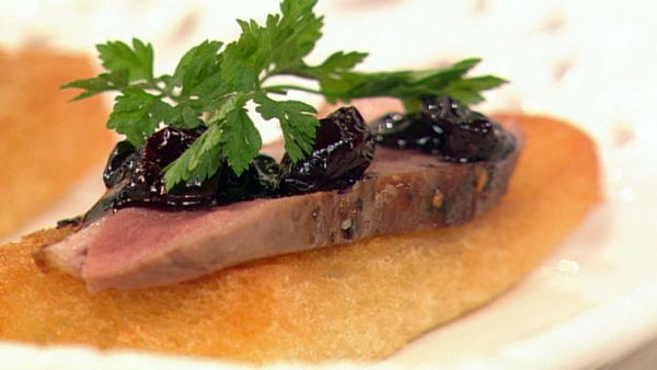 Seared duck breast with blueberry chutney