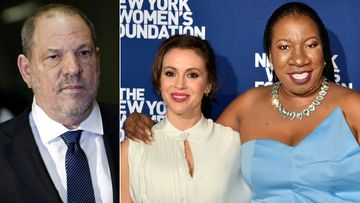 Disgraced producer Harvey Weinstein, actress Alyssa Milano and #MeToo founder Tarana Burke.