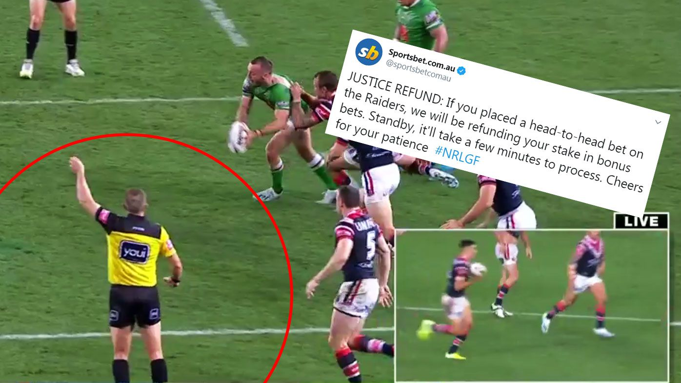 'Justice refund': Sportsbet refund punters on head-to-head Raiders bets after NRL Grand Final 'six-again' controversy