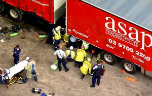 Man crushed by truck at service station in south-west Sydney