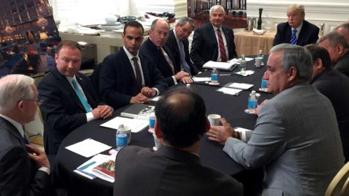 George Papadopoulos (third from left), in a meeting with now-President Donald Trump and now-Attorney General Jeff Sessions. (Instagram)
