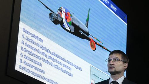 Mikhail Malyshevsky, an adviser to the director general of Russian missile manufacturer Almaz-Antey, at a news conference today.  (AAP)