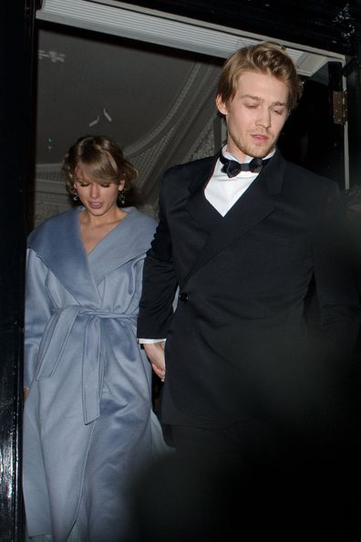 Taylor Swift and Joe Alwyn seen attending the Vogue BAFTA party at Annabel's club in Mayfair on February 10, 2019 in London, England.
