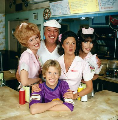 ALICE cast from left to right:  Polly Holliday as 'Flo' Florence Jean Castleberry; Vic Tayback as diner owner Mel Sharples; Philip McKeon as Alice's son Tommy; Linda Lavin as Alice Hyatt; and Beth Howland as Vera Louise Gorman. January 1, 1979