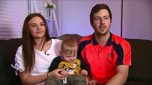 Baby Declan Campbell almost died at Nepean Hospital in Sydney's west after he was wrongly injected in a routine scan. Picture: 9NEWS.