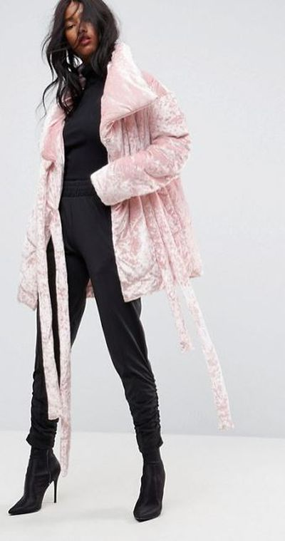 """<a href=""""ASOS Velvet Puffer Jacket in Pink, $87"""" target=""""_blank"""" draggable=""""false"""">ASOS Velvet Puffer Jacket in Pink, $87</a>"""