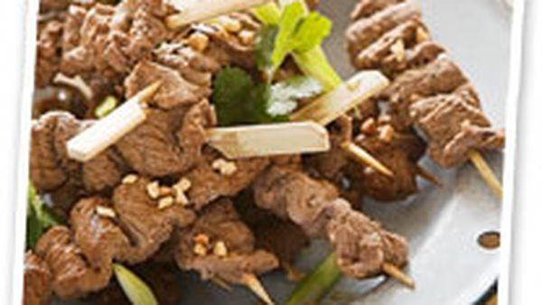 Beef skewers with homemade satay sauce