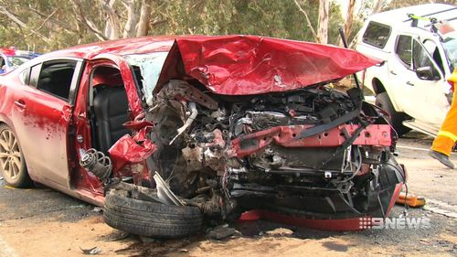 The car was seriously damaged in the crash. Picture: 9NEWS