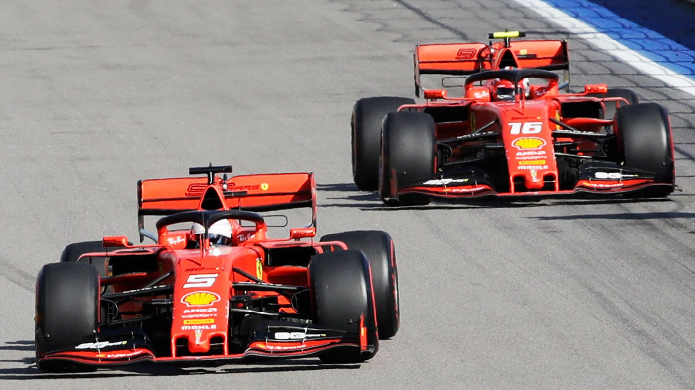 Sebastian Vettel leads Ferrari teammate Charles Leclerc during the Russian Grand Prix.