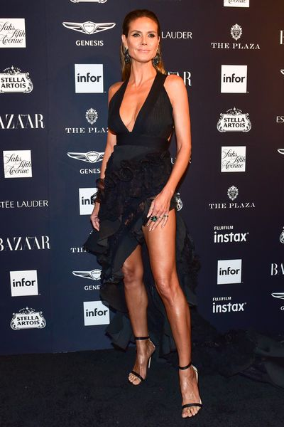 Model Heidi Klum, in Toni Maticevski, at the Harper's Bazaar Icons party in New York, September, 2018