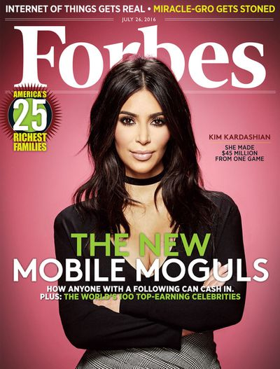 <p><strong><em>Digital Mogul&nbsp;</em></strong></p> <p>Kim Kardashian, <em>Forbes</em> July 2016</p>