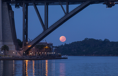 Super moon viewed beneath Sydney Harbour Bridge