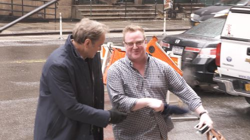 Former Channel Seven reporter Dylan Howard, 36, outside his New York office. (60 Minutes)