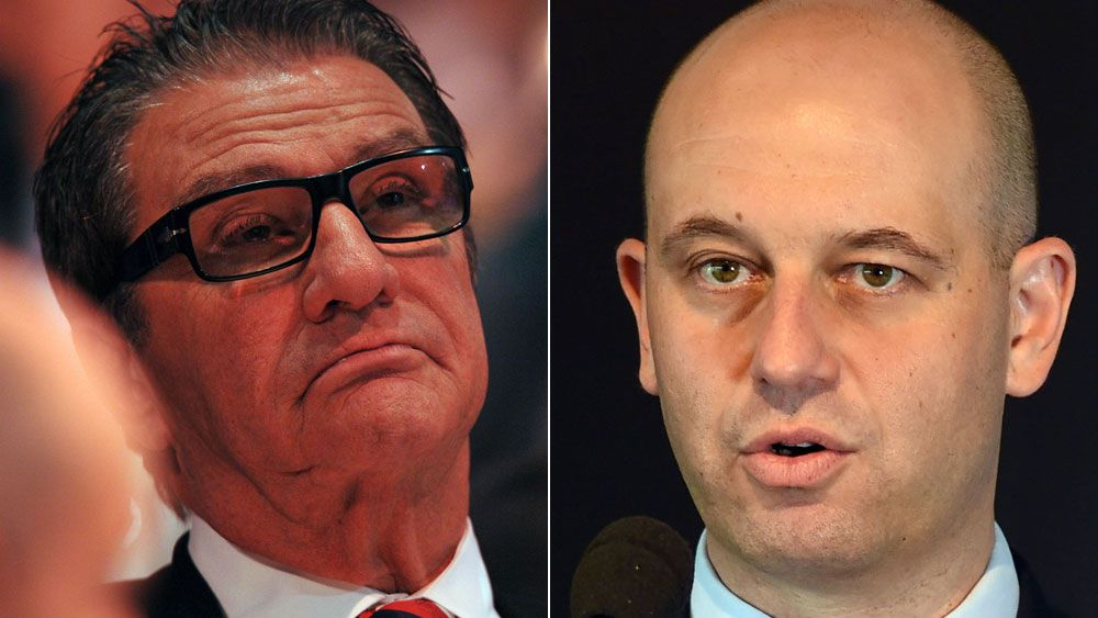 Roosters chairman Nick Politis and NRL boss Todd Greenberg. (AAP)