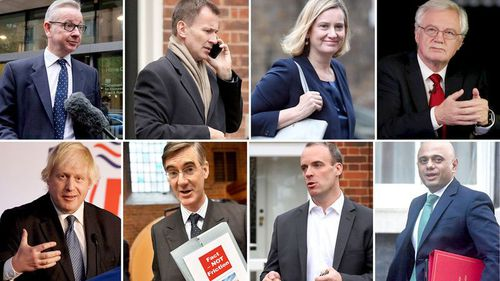 File photos of possible contenders for British prime minister if Theresa May loses a vote of confidence (clockwise from top left) Michael Gove, Jeremy Hunt, Amber Rudd, David Davis, Sajid Javid, Dominic Raab, Jacob Rees-Mogg, and Boris Johnson. (AAP)