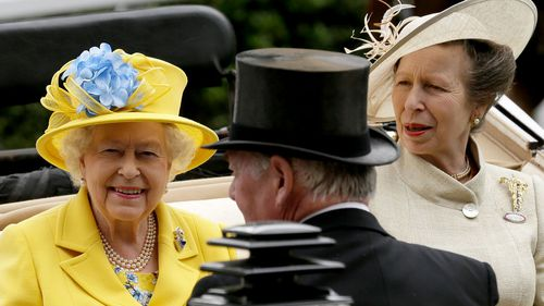 The Queen arrives at the parade ring with Anne, Princess Royal. Picture: AAP