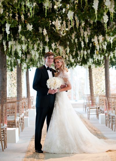 Ivanka Trump and Jared Kushner, wed at Trump National Golf Club on October 25, 2009 in Bedminster, New Jersey.