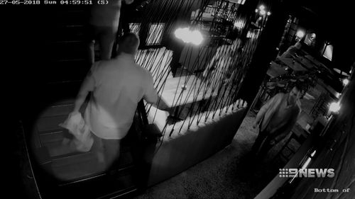 CCTV caught the thief swiping the hammer and smuggling it out of the bar under his jacket. Picture: 9NEWS