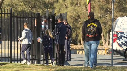 The 50-year-old man was picking up a child from after-school care from St Clare of Assisi in Conder, in the city's south, just before 5pm yesterday. Picture: 9NEWS