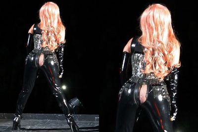 Cheeky! Lady Gaga gave her Vancouver crowd an eyeful, after splitting her latex cat suit during her 'Born This Way Ball' tour.
