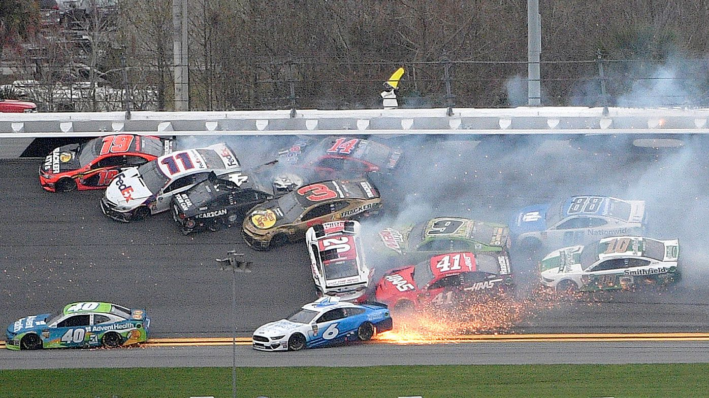 Multi-car pileup during the NASCAR Clash